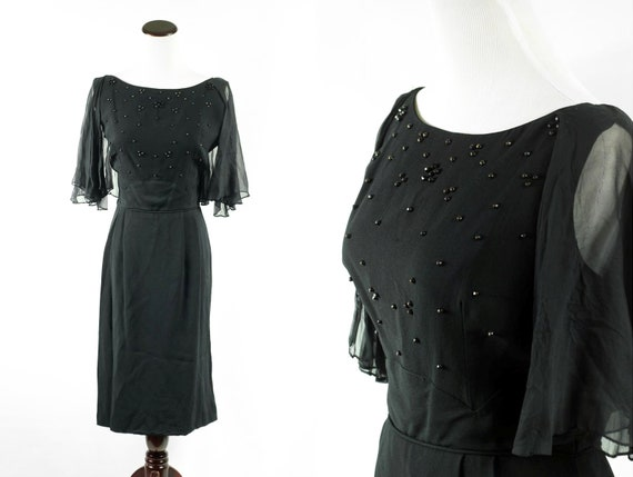 1960's Black Beaded Flutter Sleeve Party Dress