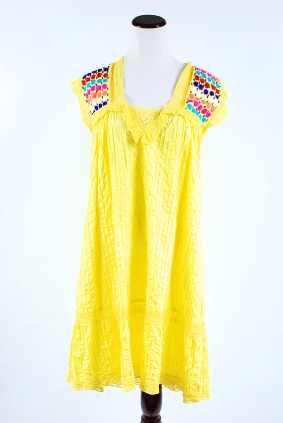 1970's Bright Yellow Cotton Floral Embroidered Pi… - image 2