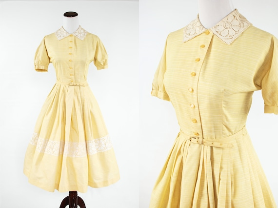 1950's Yellow Cotton Floral Lace Button-up Belted