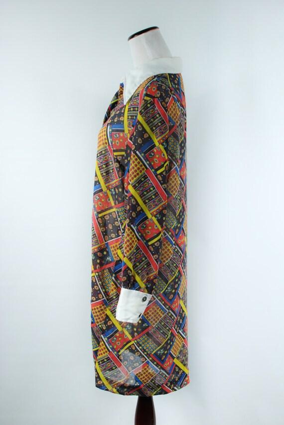 1960s 'Serbin' Patchwork Paisley Cotton Long-slee… - image 3