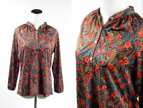 1970's Paisley and Poppy Peasant Long-sleeve Blous