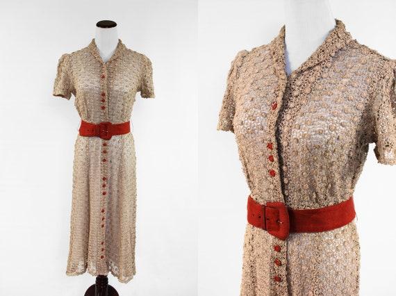 1930's 'FOGA' Tan Crochet Short-sleeve Button-up D