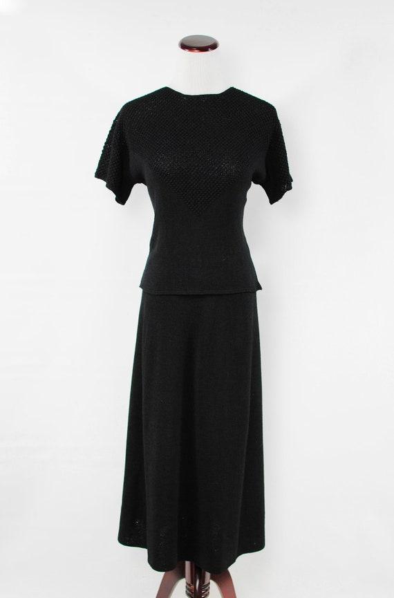 1940's Black Rayon Knit Blouse & Skirt Set - image 2