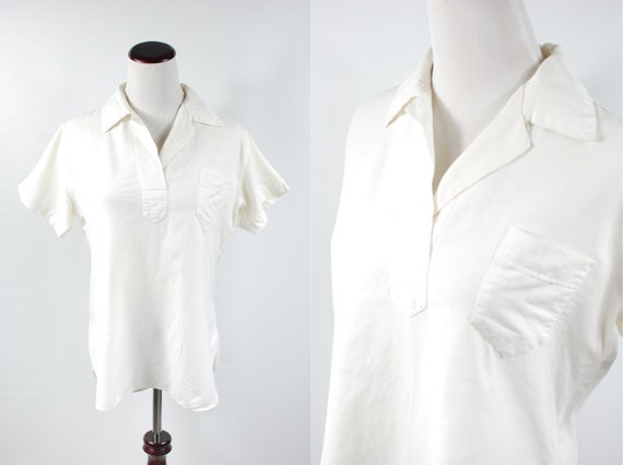 1950's 'Wright & Ditson' White Cotton Sailor Blous