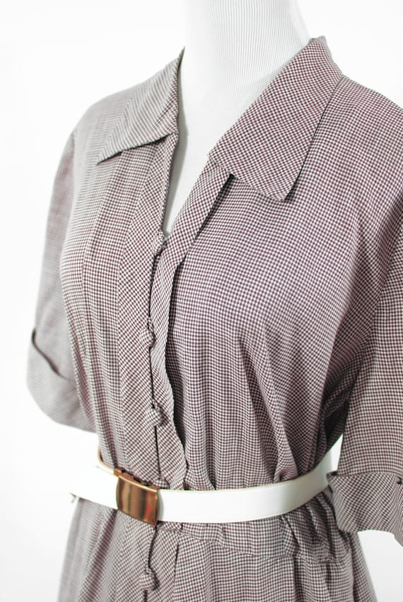 1950's Brown Gingham Cotton Short-sleeve Shirtdre… - image 5