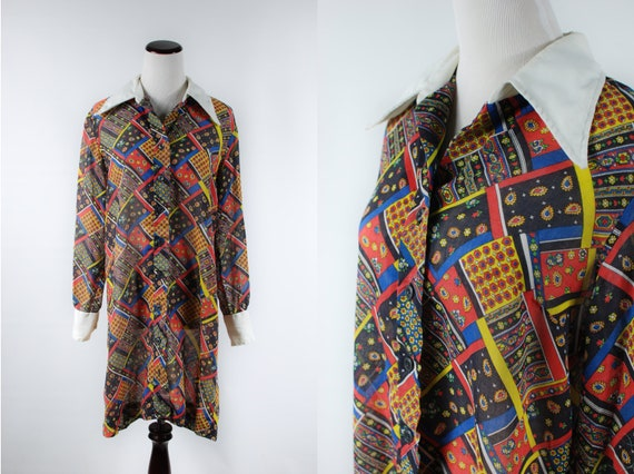 1960s 'Serbin' Patchwork Paisley Cotton Long-sleev