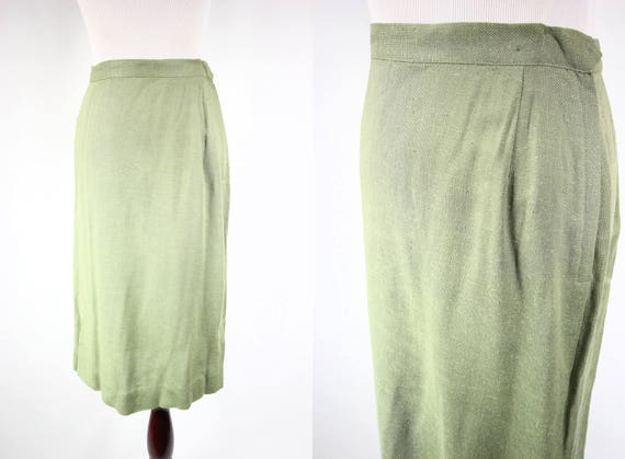 1950's Pistachio Green Embroidered Highwaisted Pen