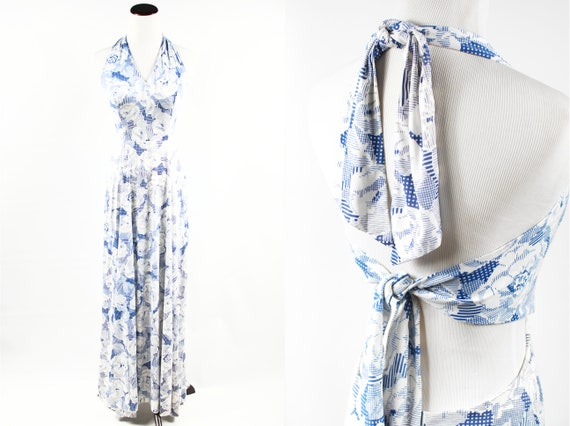 1970's Blue & White Rose Tie-back Halter Maxi Dres