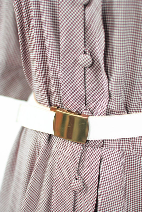 1950's Brown Gingham Cotton Short-sleeve Shirtdre… - image 7