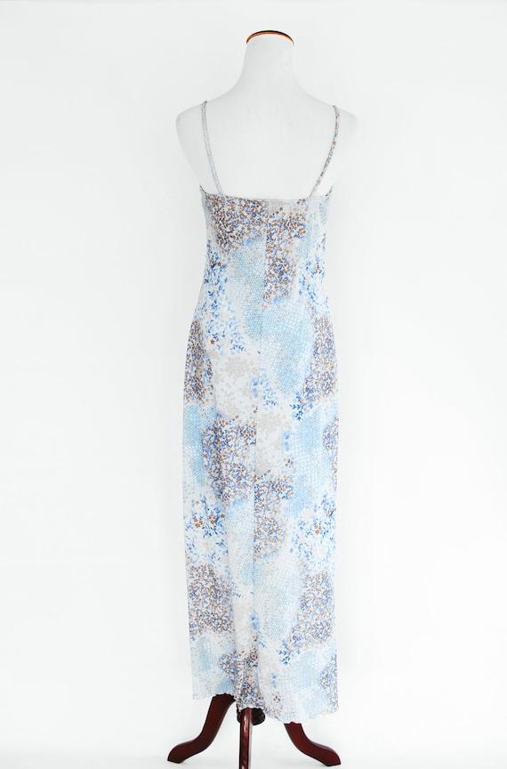 1990's Sky Blue Floral Slit Slip Dress - image 4