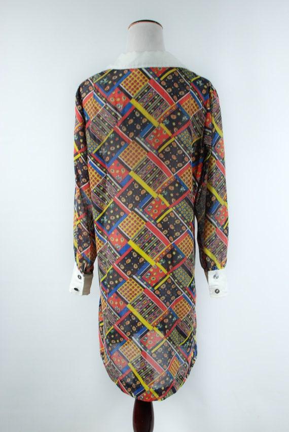 1960s 'Serbin' Patchwork Paisley Cotton Long-slee… - image 4