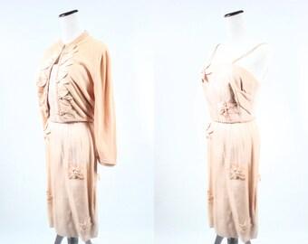 1940's Peach Floral Sundress & Sweater Set