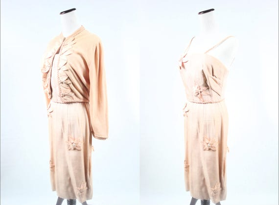 1950's Peach Linen Floral Sundress & Cashmere Swea