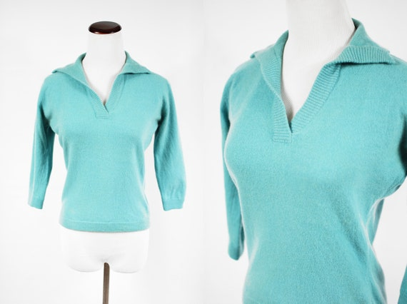 1950's Robins Egg Blue Cashmere Pullover Sweater T