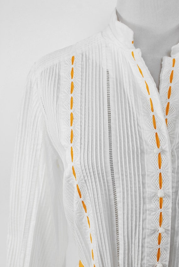 1950's White Cotton Long-sleeve Pleated Shirtdres… - image 6
