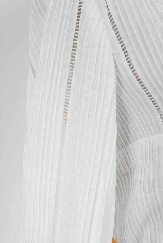 1950's White Cotton Long-sleeve Pleated Shirtdres… - image 7