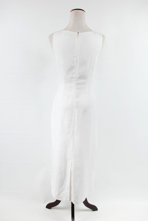 1990's White Linen Sleeveless Pocket Maxi Dress - image 4