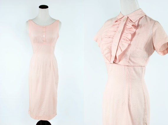 1950's Pink Swiss-dot Cotton Dress & Jacket Set