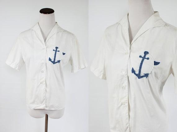 1950's White Cotton Nautical Anchor Short Sleeve B