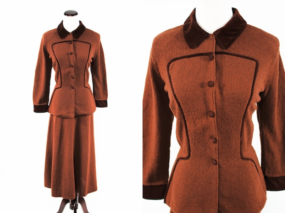 1940's Brown Rayon Knit Velvet Jacket & Skirt Suit