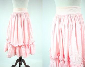 1950's Pink Cotton High-waisted Full Ruffle Skirt