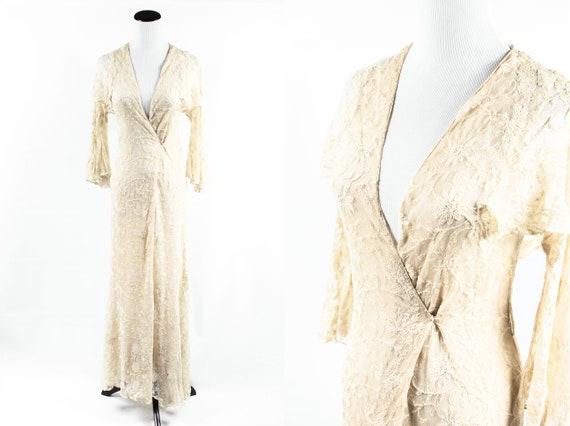 1930's Cream Silk Floral Lace Angel-sleeve Wrap Go