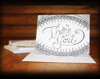 Set of 10 Thank You Cards, Wedding Thank You Cards, Black and White Thank you cards, Kraft Thank you Cards,