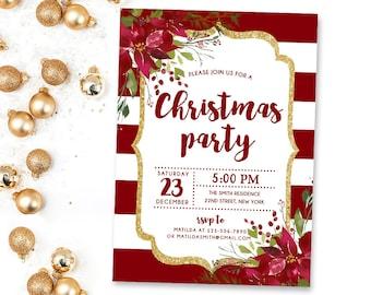 christmas party invitation red invitation holiday invitation etsy