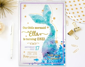 Mermaid Birthday Invitation Printable, Mermaid Invitation, Mermaid Invitation Birthday, Mermaid Party Invitation, Under the sea invite