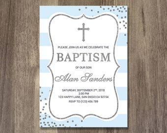 baptism invitation boy boy baptism blue gold navy blue etsy