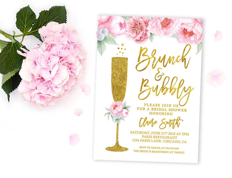 15a3ed1a4ed Brunch and Bubbly bridal shower invitation Brunch bubbly