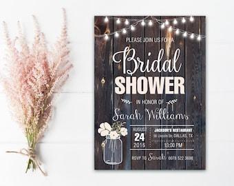 Rustic Bridal Shower Invitation Printable, Country Bridal Shower Invitation, Mason Jar Bridal Shower Invite, rustic wedding shower invite