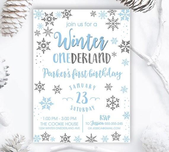 Winter Onederland Invitation Boy Winter Onederland Boy Etsy