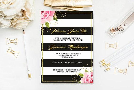 850089cfe0a Bridal Shower Invitation Black and White Floral bridal shower