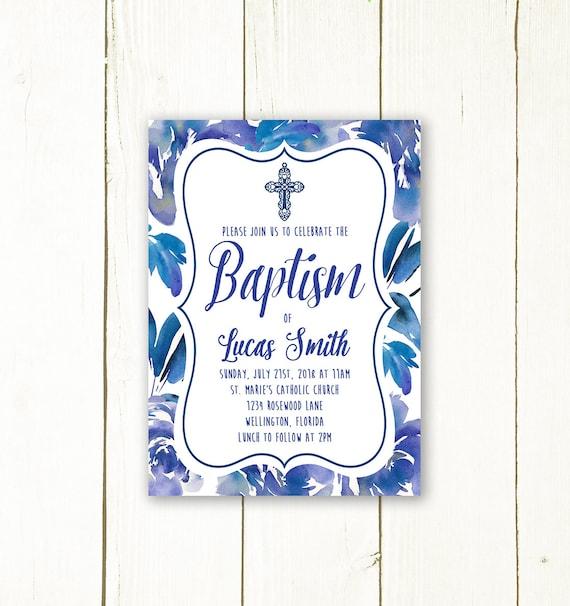 Boy Baptism Invitation Christening Invitation Floral Baptism Etsy
