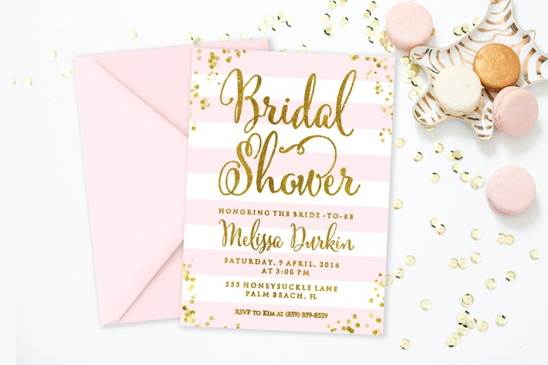 6b0396ffa9c Pink and Gold Bridal Shower Invitation Bridal Shower Invite
