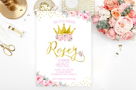 Princess birthday invitation princess invitation gold crown etsy image 0 filmwisefo
