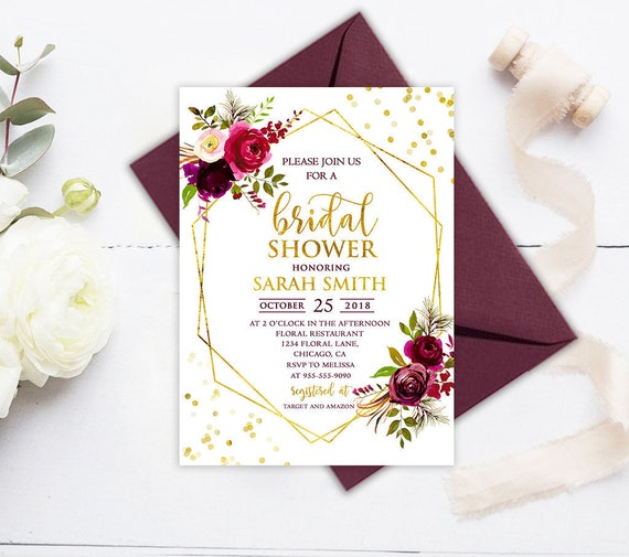 9dc45d76842 Burgundy Bridal Shower Invitation Floral Bridal Shower