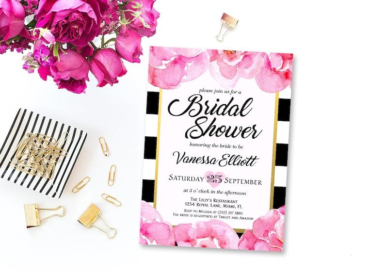 767b5a03d47 Black   White Stripe Bridal Shower Invitation Floral Bridal