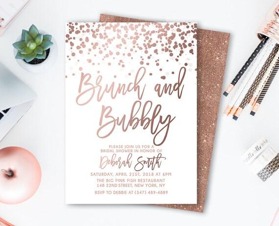 56ea18a51b3 Brunch And Bubbly Bridal Shower Invitation Rose gold Confetti