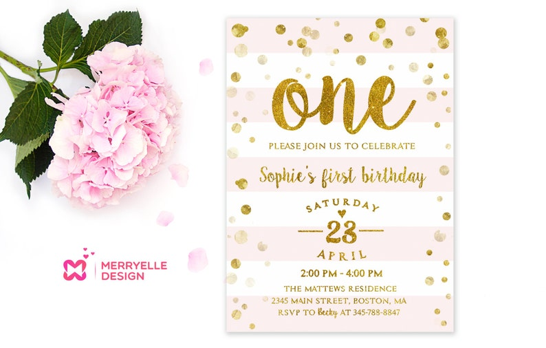 First Birthday Invitation Girl 1st Birthday Girls Party Etsy