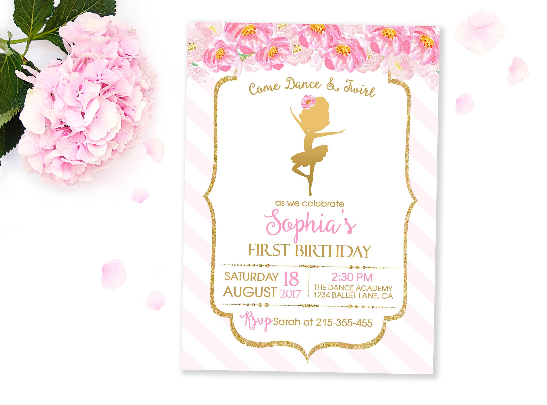 Ballerina Invitation Ballerina Birthday Invitation Pink and | Etsy