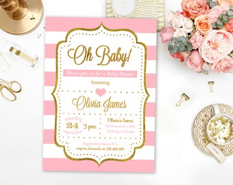 Baby Shower Invitation Girl Pink and Gold - Glitter Baby Shower Invite - Girl Baby Shower - Pink and gold Baby Shower Invitation Printable
