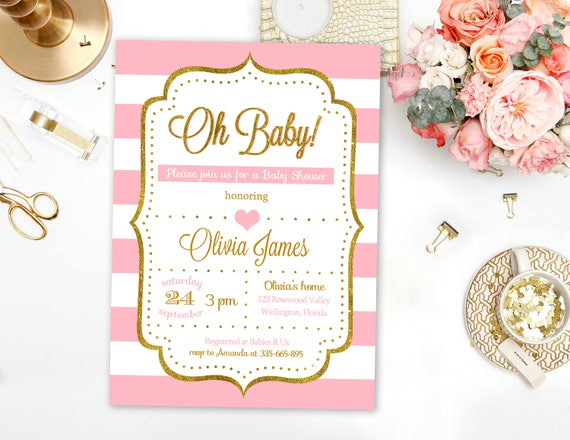 Baby Shower Invitation Girl Pink And Gold Glitter Baby Etsy