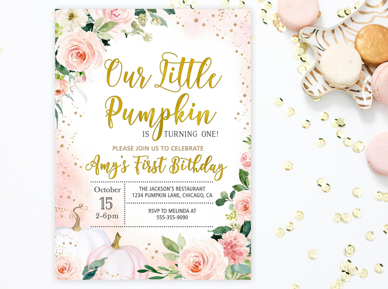 Our Little Pumpkin Is Turning One Invitation Pumpkin Birthday | Etsy