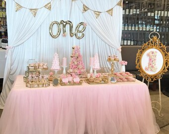 White Satin Wedding Party Event Dessert/Lolly/Bridal Table Photography Backdrop