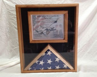 Custom Hardwood Memorial Flag and Certificate Display Case - Iraq- Afghanistan