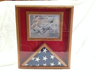 3x5 Cherry Wood Flag and Certificate Display, Flag Display Case, US Flag and Certificate Display Case