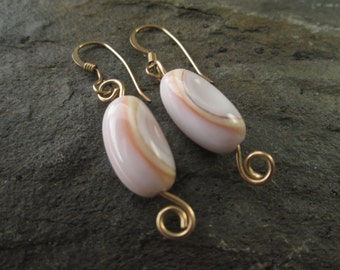 Summer sale, Shell and gold earrings , gold filled earrings , dainty earrings, coiled earrings , gift for her , pink and white