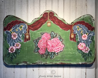 FRENCH ROSE GARDEN  Painting on wood Pink rose flower sign Aubusson green art antique distressed painting shabby chic decor Christmas decor